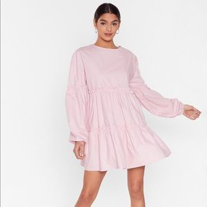 Nasty Gal Blush State of Smock Relaxed Mini Dress